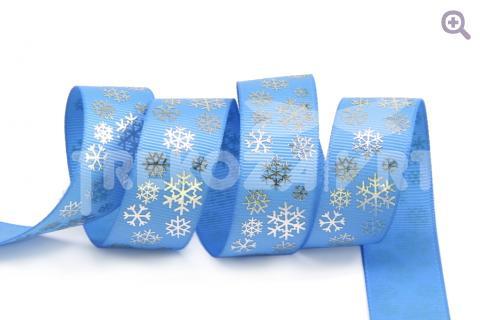 """Лента репсовая с рисунком 22мм, """"Снежинки"""", цвет: голубой"""