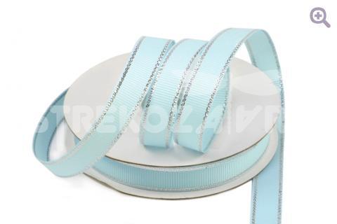 Лента репсовая с люрексом 12мм, цвет: светло-голубой/серебро