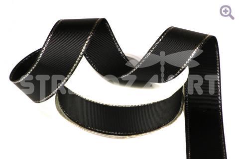 Лента репсовая с люрексом 12мм, цвет: черный