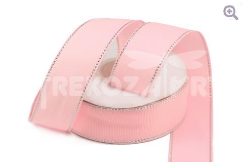 Лента репсовая с люрексом 25мм, цвет: светло-розовый/серебро