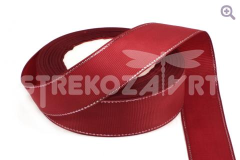 Лента репсовая с люрексом 25мм, цвет: бордовый/серебро