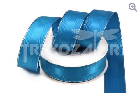 Лента репсовая с атласной вставкой 25мм, цвет: морская волна