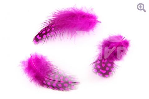 Перо цесарки 4-10см,  цвет: фуксия, 10шт