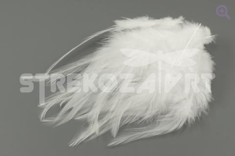 Перья петуха однотонное 10-15см, цвет: белый, 10шт