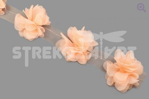 """Кружево объёмное """"Цветы"""", 60мм, цвет: персиковый"""