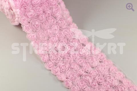 "Кружево на сетке ""Розочки"" 85-90мм, 50см, цвет: светло-розовый"