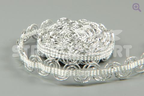 Тесьма люрекс Волна, 8мм, цвет: серебро
