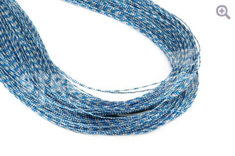 Шнур декоративный (круглый), 1мм, цвет: голубой/серебро