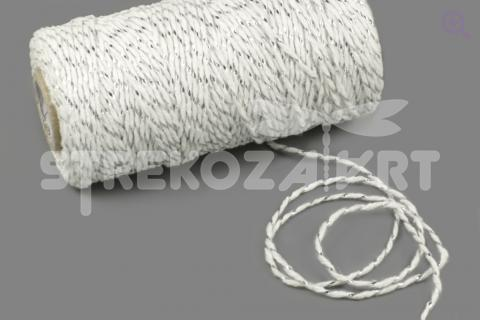 Шнур декоративный (круглый), 2мм, цвет: белый-серебро