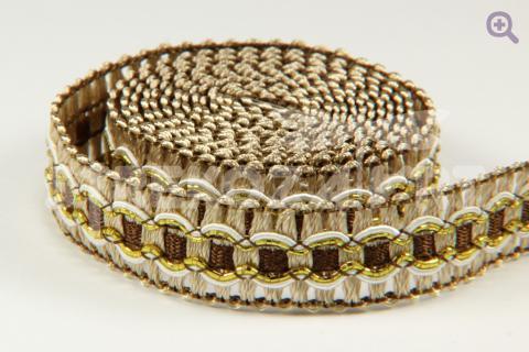 Тесьма декоративная 15мм, цвет: коричневый/золото
