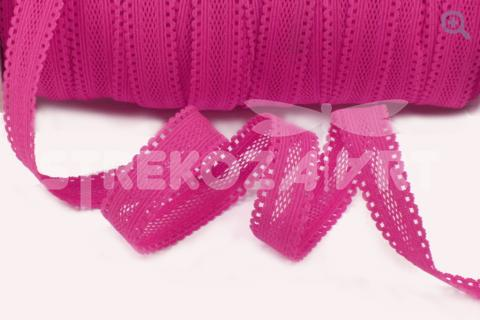 Тесьма эластичная в сетку, 15мм, цвет: ярко-розовый