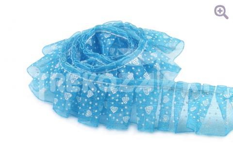 Тесьма рюшевая 25мм сердечки, цвет: голубой