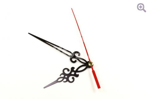 Механизм часовой №4, 16/9 мм, с петлей+стрелки 68/97/90мм, металл, цвет: черный