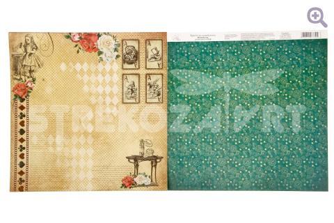 """Бумага для скрапбукинга Алиса в стране чудес """"Карты"""" 29,5*29,5см"""