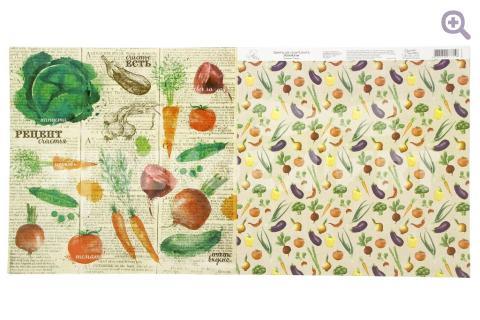 """Бумага для скрапбукинга Рецепты счастья """"Овощи"""" 29,5*29,5см"""