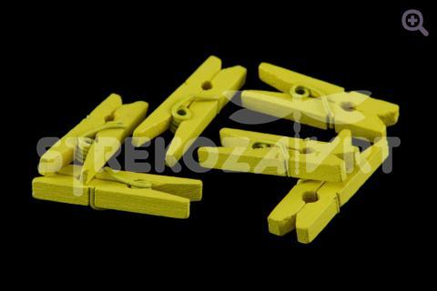 Прищепка мини, деревянная,  цвет: желтый