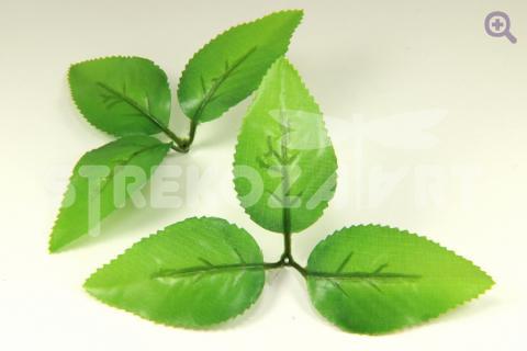 Лист тройной 8*4,5см, ткань, цвет: светло-зеленый