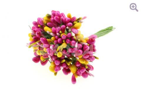 Букетик декоративный многоцветный, цвет: малиновый/желтый
