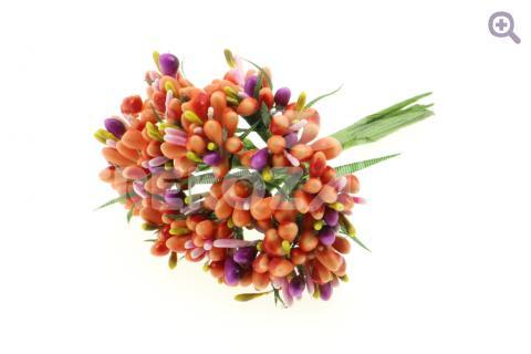 Букетик декоративный многоцветный, цвет: оранжевый