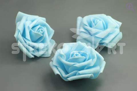Роза фоамиран 7см, цвет: голубой