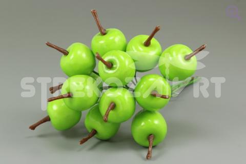 Яблоки 20мм на проволоке, 12шт, цвет: зелёный