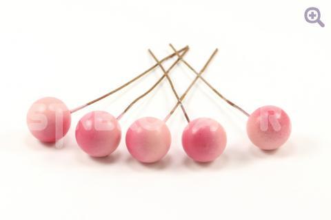 Ягода на проволоке 10мм, цвет: розовый, 5шт