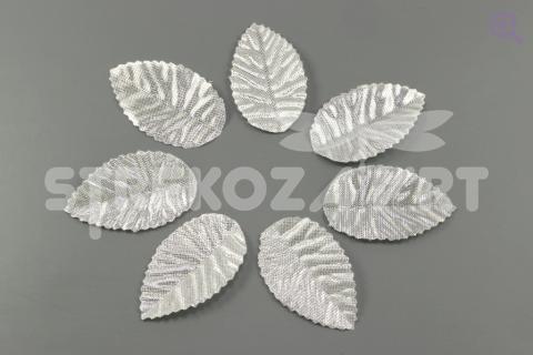 Листик 26*43мм, ткань, цвет: серебро