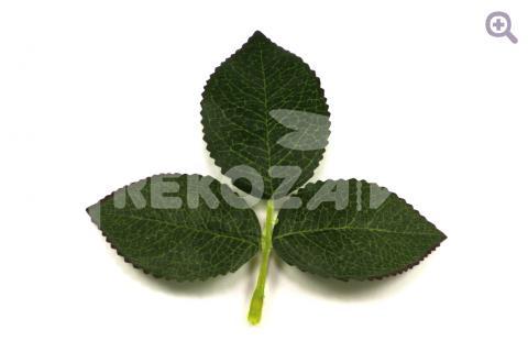 Лист розы тройной на веточке 11*12см, ткань, цвет: зеленый