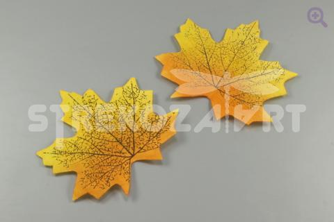 Лист клена 8,5*7см, ткань, цвет: желтый