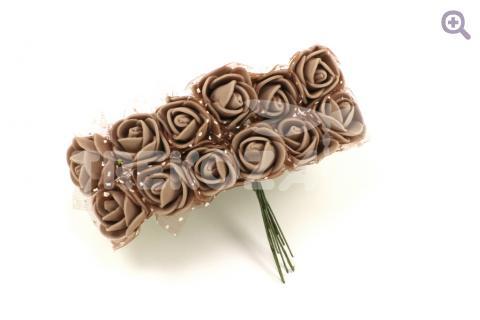 Букетик роз из фоамирана (цветок 2,5см, 12 цветков, фатин), цвет: кофе с молоком