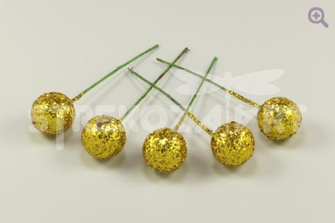 Ягода на проволоке с блестками 11мм, цвет: золото, 5шт