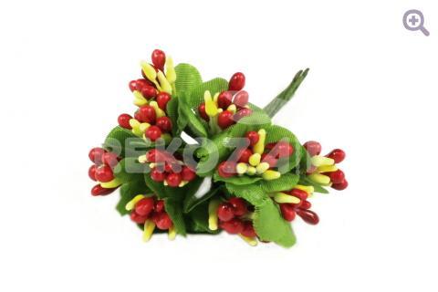 Букетик декоративный простой двухцветный, цвет: красный/желтый