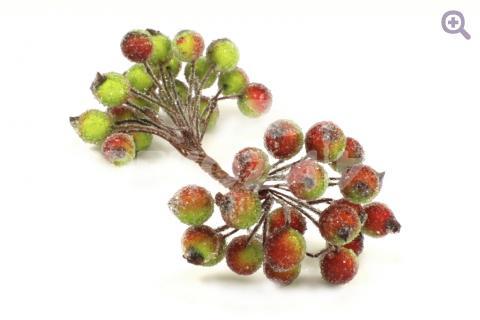 Ягоды сахарные 12мм, цвет: зелено-красный (2 ягоды на веточке)