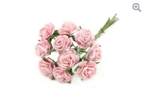 Букетик роз бумажный (цветок 1см, 10 цветков), цвет: розовый