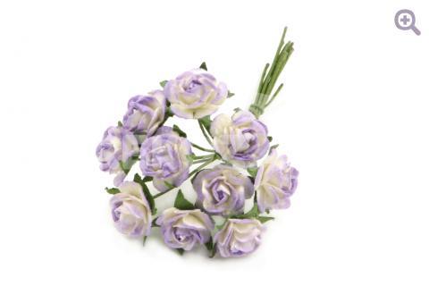 Букетик роз бумажный (цветок 1см, 10 цветков), цвет: белый/сиреневый
