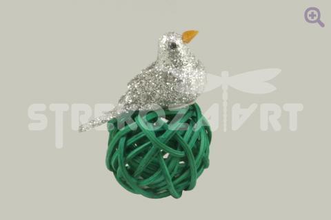 Птичка блеск, 3см, цвет: серебро