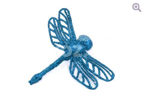 УЦЕНКА: Стрекоза блеск, 6,5см*7,5см, цвет: синий