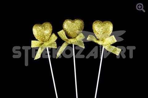 Сердце на палочке с бантиком d-2.5см, h-11см,  цвет: золото