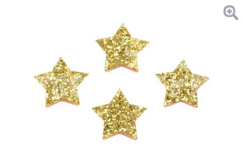 """Патч """"Сверкающая звездочка"""" 20мм, глиттер, цвет: золотой"""