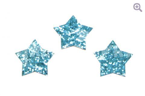 """Патч """"Мерцающая звездочка"""" 35мм, крупные блестки, цвет: голубой"""