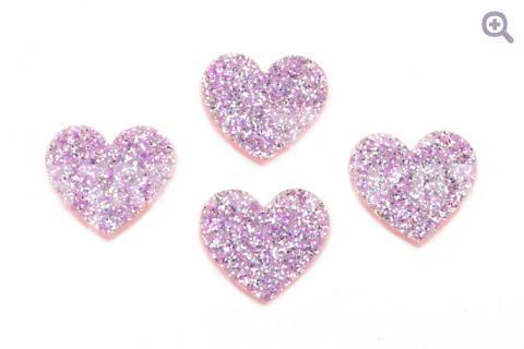 """Патч """"Многоцветное сердце"""" 25*22мм, блестки, цвет: сиреневый"""