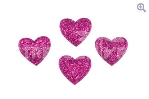 """Патч """"Сердечко с блестками"""" 18мм, цвет: малиновый"""