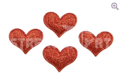 """Патч """"Сердечко"""" 38*32мм, блестки, цвет: красный"""