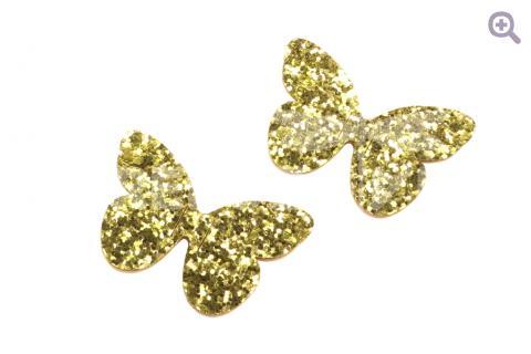 """Патч """"Бабочка"""" 50*30мм, крупные блестки, цвет: золотой"""