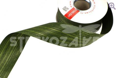 Лента аспидистр с тиснением, 75мм, цвет: зелёный