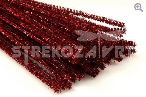 Проволока синельная металлизированная 30см, цвет: красный