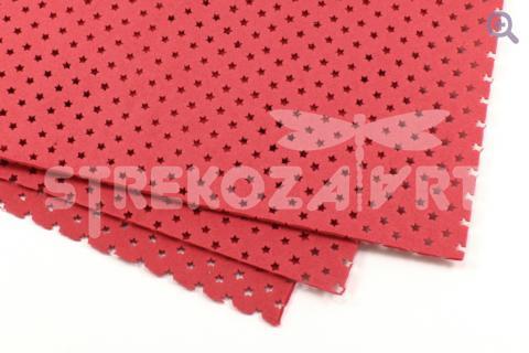 Фоамиран декоративный 20*30, толщина 2мм, перфорация звезды, цвет: красный