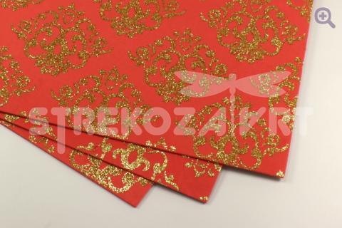 Фоамиран декоративный 20*30, толщина 2мм, глиттер, цвет: красный