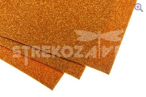Фоамиран глиттерный 20*30, толщина 2мм, оранжевый