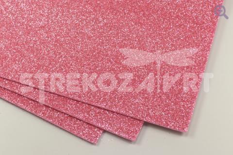 Фоамиран глиттерный 20*30, толщина 2мм, розово-персиковый
